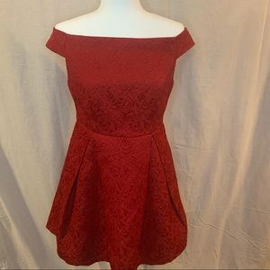 Ark&co red brocade Christmas dress